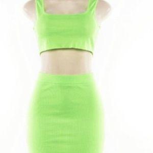 Two piece neon green skirt set
